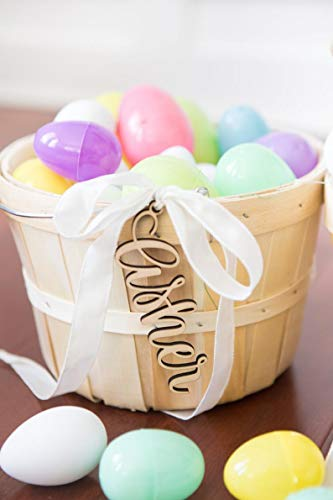 Easter Baskets Names Wood Cutouts Kids Family Personalized Easter Basket Decor for Holiday Rustic Chic