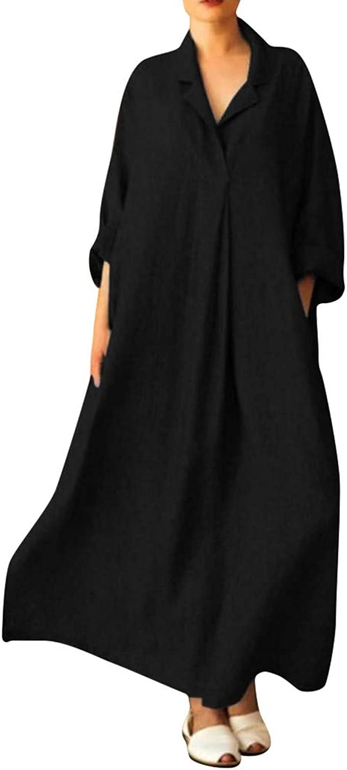 Women Long Sleeve Collared Button Down Solid Loose Oversize Maxi Shirt Dress NEW