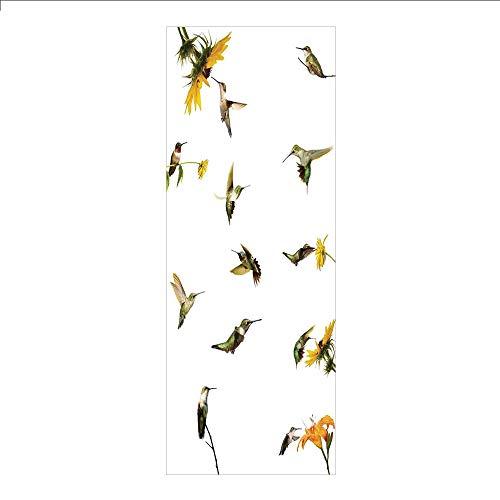 Hummingbird Collection 1 Light - 3D Decorative Film Privacy Window Film No Glue,Hummingbirds Decor,Collection of Hummingbirds in Motion and at Rest Sunflowers Summer Fun,for Home&Office