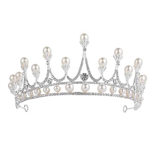 Rhinestone Pearl Crown Alloy Hair Hoop Bridal Wedding Headdress Simple Hair Band for Bride Bridesmaid (Silver) by Lurrose