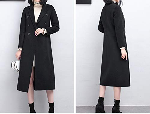 Donna Maniche Lana Vintage xl nero Inverno Giacca Boucle Lunghe E A Vento Ricamo Da Vioy Autunno In Caldo Coat vOqOZC