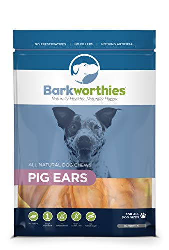 Barkworthies All Natural Dog Treats - Flavor Rich Whole Pig Ear Dog Chews (10 pk)