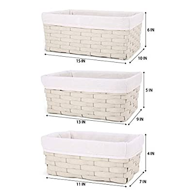 Hosroome Handmade Storage Basket Set Shelf Baskets Woven Decorative Home Storage Bins Organizing Baskets Nesting Baskets