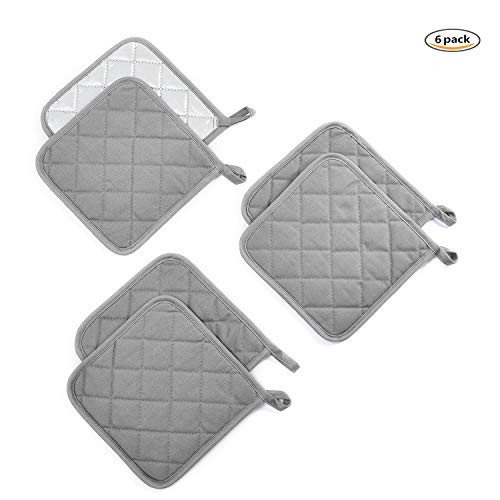 - Jennice House Potholders Kit Trivets Kitchen Pot Holders Set Heat Resistant Pure Cotton Large Coasters Hot Pads Pot Holders Set of 6 for Everyday Cooking and Baking by 7 x 7 Inch (Gray)