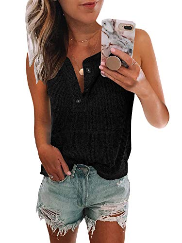 Dellytop Ribbed Tank Tops for Women Summer Casual Button Down Pocketed T-Shirts Tunic Tees ()