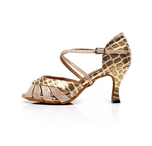 Our38 EU37 Paillettes Danse Gold 5cm JSHOE De Jazz Samba Latine Féminin Talons Tango Style Danse Hauts heeled7 UK5 Moderne Chaussures à De Salsa Chacha De De Wq0SU4