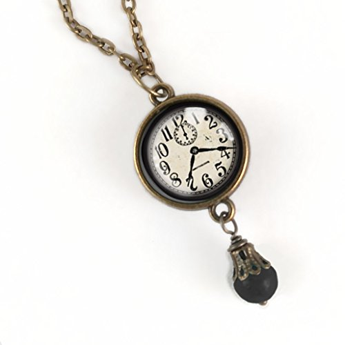 Black and White Clock pendant necklace with 18