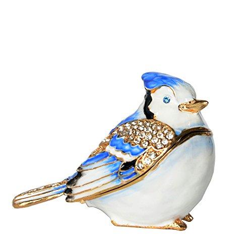 Blue Jay Bird Trinket Box Pewter Keepsake Jewelry Box Enamel Bird Figurine Decor
