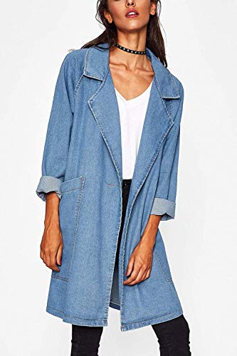 Boyfriend Jean Longue Jacken Vetements Outerwear Blouson Fashion Femme Tendance Long Printemps Loisir Bouffant Targogo Automne Manteau lgant Manches Skyblue Blouson Bleu EazqAc