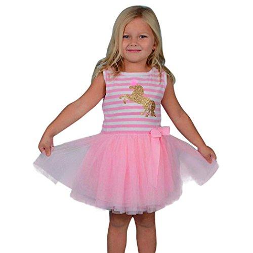 (Goodlock Toddler Kids Fashion Dress Baby Girls Clothes Stripe Sleeveless Pageant Party Princess Dress (Size:5T) Pink)