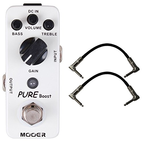 Mooer Audio Pure Boost Pedal w/ 20db Clean Boost & +/- 15 db 2-band EQ w/ 2 Free Cables by Mooer