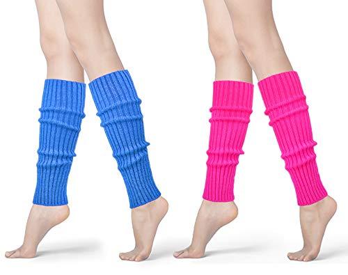 Womens 80s Neon Ribbed Knit Crochet Dance Yoga Leg Warmers Long Socks (Sky Blue+Rose(2 pairs))