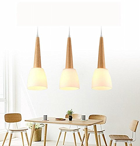 DEN Restaurant chandelier three simple art dining room lamp wood creative personality bar table lamp small chandelier,warm light,3 heads by DEN