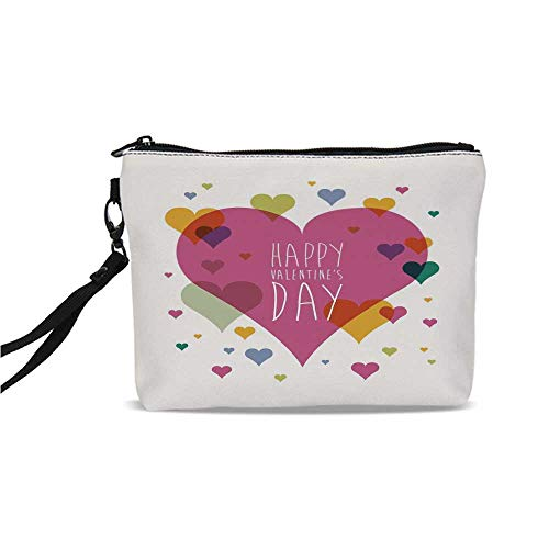 (Valentines Day Decor Simple Cosmetic Bag,Happy Valentine Day Quote Love Romance Theme Abstract Image with Heart for Women,9