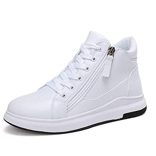 de Piel Confort Punta Forro Redonda Otoño Invierno Cordones Blanco Sneakers Piel de de con sintética Negro Mujer White Zapatos ZHZNVX 1IvqSS