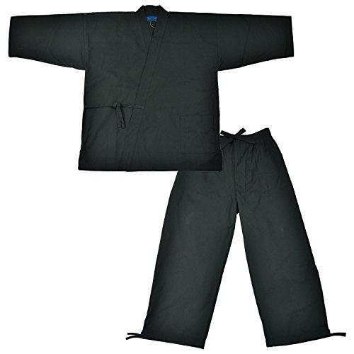 Edoten Men's Japan Kimono Cotton100% Samue Black M
