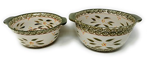 Temp-tations Set of 2 Bowls, Tall Side, Mixing or Serving, Nestable 2.5 Quart & 1.5 Quart (Old World Green)