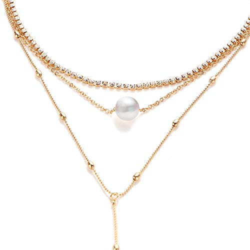 Zealmer Hanloud 3 Layered Crystal Choker Pearl Pendant Necklace Adjustable Satellite Beaded Larait Clavicle Chain Necklace