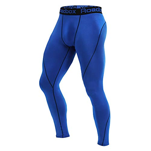 5f0fd3c515 Roadbox Men's Compression Pants - Tights Base Layer Cool Dry Leggings for  Sports, Workout, Gym, Fitness, Running, Cycling, Yoga, Hiking, Basketball  (Blue, ...