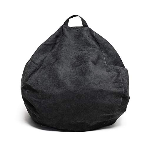 YuppieLife BeanBag Chair for Kids/Candy-Colored Bean Bag/Stuffed Animals Bean Bag Chair Cover/Black Large Bean Bag Cover/ChildrenToys Organizer(38''Dark Black)
