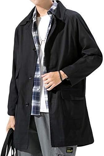 メンズ コート ロング チェスターコート カジュアル ジャケット コットン アウター 無地 おしゃれ 秋冬 ゆったり リラックス 大きいサイズ 防風 ブラック