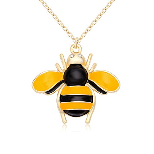 NOUMANDA Gold Insect Honey Bee Necklace Crystal Bumblebee Pendant for Women Girls (Enamel Bee Pendant)