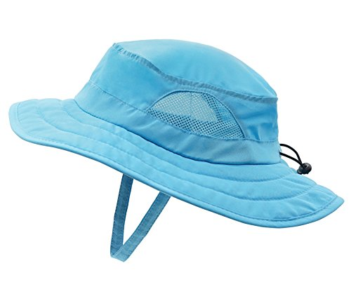 Sun Cowboy Protection (Connectyle Kids UPF 50+ Mesh Safari Sun Hat UV Sun Protection Hat Summer Daily Play Hat (Aqua Blue) ,50-54cm/19.6