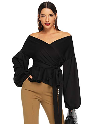 SheIn Women's Long Sleeve V Neck Ruffle Blouse Off Shoulder Tie Waist Wrap Tops X-Large Black