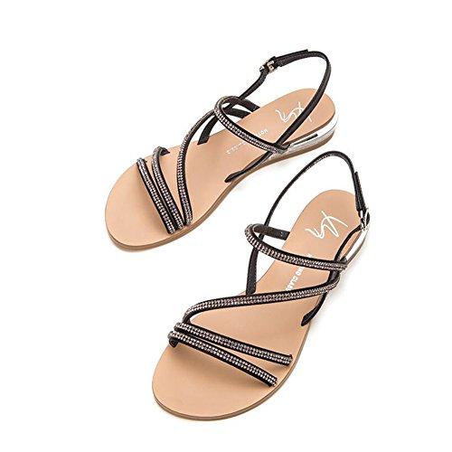 Size Ankle Sandals CN34 UK3 CJC Black Strap Black Color Women's EU35 EEYUzq