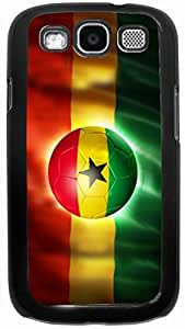 Rikki KnightTM Brazil World Cup 2014 Ghana Team Football Soccer Flag - Black Hard Rubber TPU Case Cover for Samsung? Galaxy i9300 Galaxy S3
