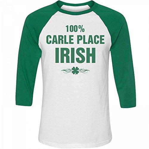 100% Carle Place Irish St. Patrick's Day: Unisex 3/4 Sleeve Raglan T-Shirt (Party City Carle Place)
