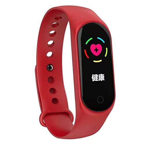 Fine M4 Smart Bracelet, Color Screen Fitness Tracker Blood Pressure Heart Rate Monitor Smart Band Wearable Smart Bracelet Sleep Monitor Step Counter Pedometer Watch for Men Women Kids (Red)