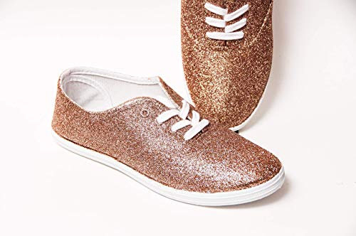 Women's Hand Glittered Canvas Oxford Rose Gold Glitter Sparkle Sneaker Shoe by Princess Pumps ()