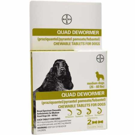 Bayer Quad Dewormer for Medium Dogs (2660 lbs) 2 Chewable ()