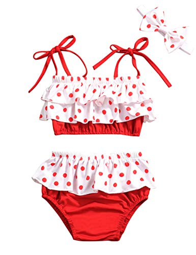 Baby Girl Swimsuit Ruffle Red Dot Top and Bikinis Skirt with Headband 2 Piece Swimwear 12-18 Months Dots Swimsuit Bathing Suit