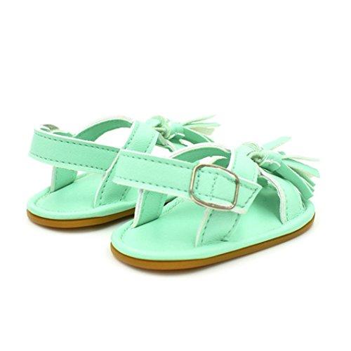 Hunpta Neugeborenes Baby Boy Girl Quaste Schritt Schuhe Sandalen weiche rutschfeste Schuhe Grün