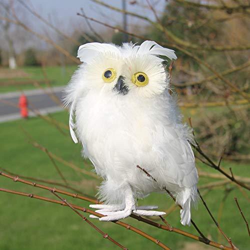 lwingflyer Artificial Owl Simulation Foam Bird Feather Ornaments DIY Craft for Wedding Decoration Home Garden Party Embellishing Accessories 16cm/6.29inch (White) (Feathered Owl Ornaments White)