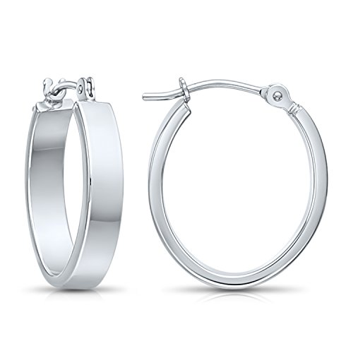 14k Gold Small Oval Flat Hoop Earrings, 0.7