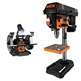 WEN 4280 5-Amp 8-Inch Variable Speed Bench Grinder with Work Light & 4208 8 in. 5-Speed Drill Press