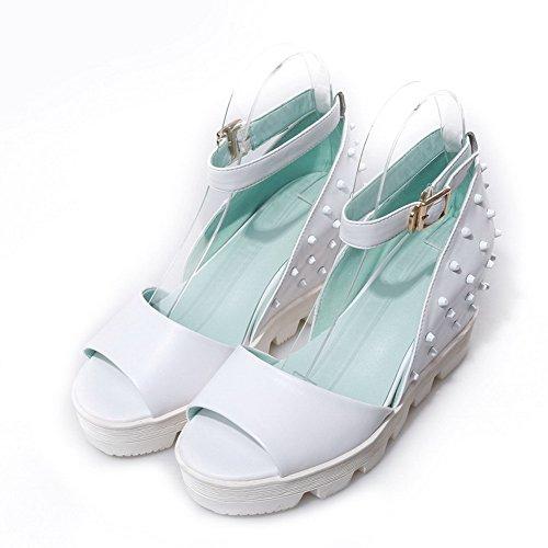 Allhqfashion Dames Open Peepteen Koe Lederen Degelijke Sandalen Met Een Verhoogde Binnenkant Wit
