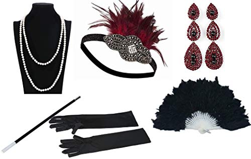 Women 1920s Style Deco Flapper Art Gatsby Feather Headband Hand Fan Faux Pearls Necklace Gloves Cigarette Holder for Costume(Red)