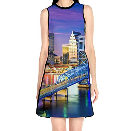 Women's Sleeveless Dress Jacksonville Fl Fashion Casual Party Slim A-Line Dress Midi Tank Dresses White]()