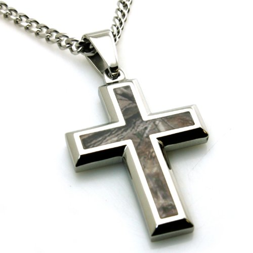 - Stainless Steel Forest Tree Camouflage Cross Pendant