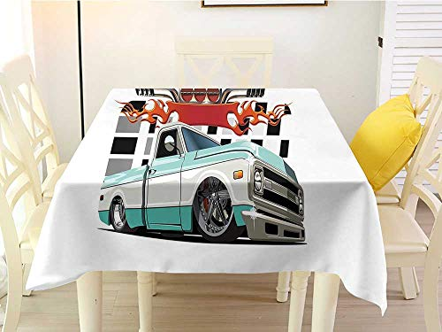 (L'sWOW Anti-Lost Square Tablecloth Truck Lowrider Pickup with Racing Flag Pattern Background Speeding on The Streets Modified Multicolor Plaid 60 x 60 Inch)
