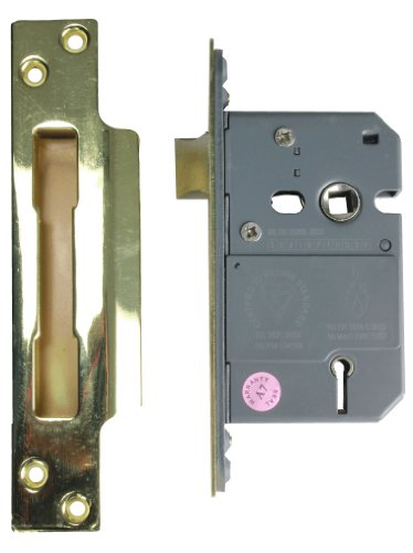 Eliza Tinsley 5 Lever Sash Lock with 67mm Case and Reversible Latch - Brass Finished