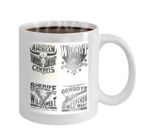 Coffee Mug Cup Gifts set print designs vintage typography wild west t apparel stamps vintage cowboy sheriff rangers