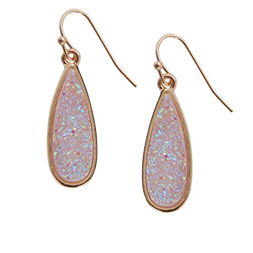 Humble Chic Simulated Druzy Drop Dangles - Gold-Tone Sparkly Long Teardrop Dangly Earrings for Women, Lavender Glitter, Simulated Amethyst, Simulated Tanzanite, Purple, Gold-Tone