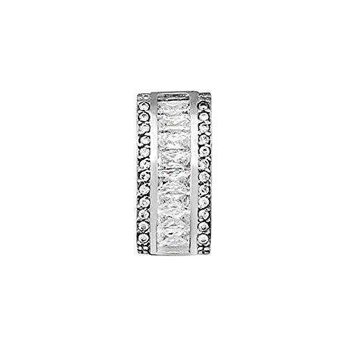 Pendentif 18k blanc baguette d'or zircons 4x2mm. [AA4783]