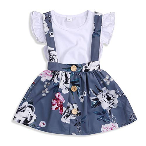 Baby Girls Skirts Set Ruffle Romper +Floral Overall Dress Button Strap Tutu Skirts Birthday Suspender Outfits (White +Gray, 6-12 Months)