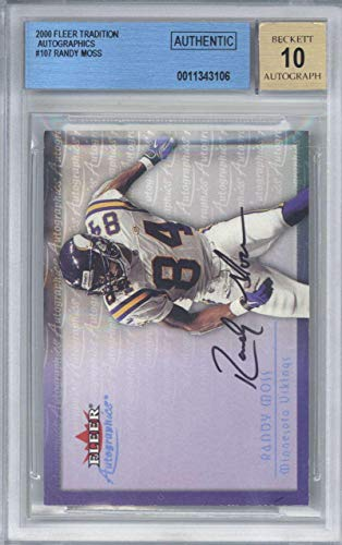 Randy Moss Signed Auto 2000 Fleer Tradition Beckett BGS 10 - Beckett Authentication - NFL Autographed Football Cards